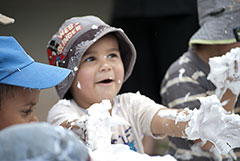 Though a little too young to shave, these kids have so much fun with a can of shaving cream!